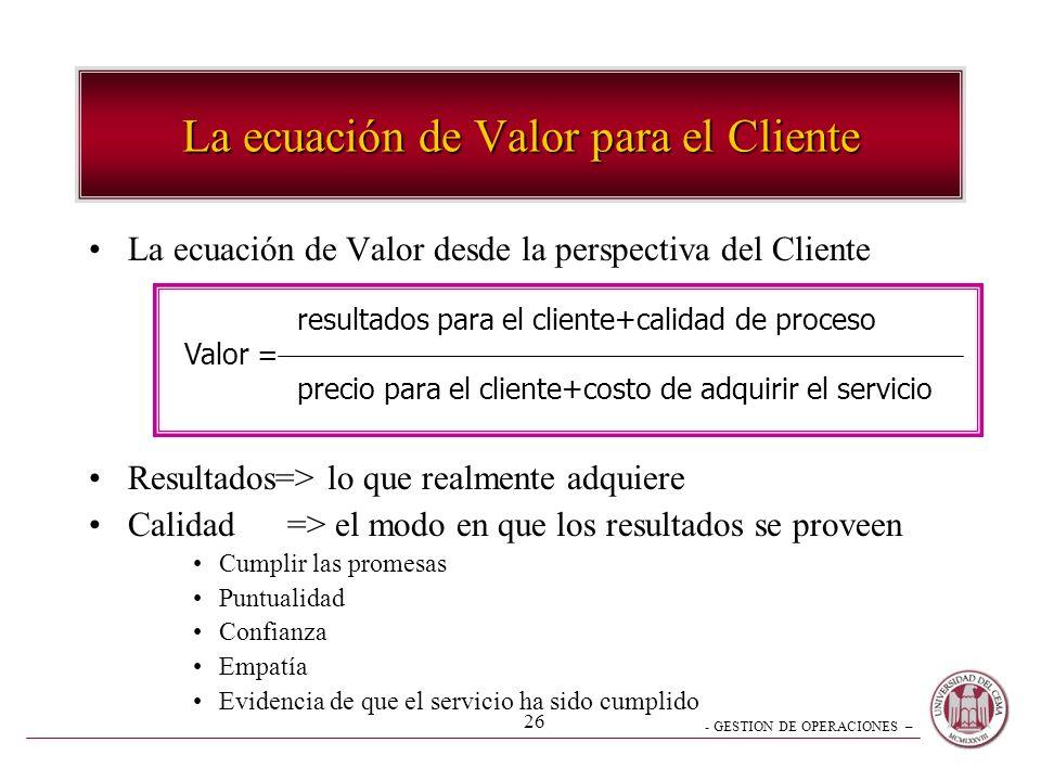 - GESTION DE OPERACIONES – 26 La ecuación de Valor para el Cliente La ecuación de Valor desde la perspectiva del Cliente Resultados=> lo que realmente