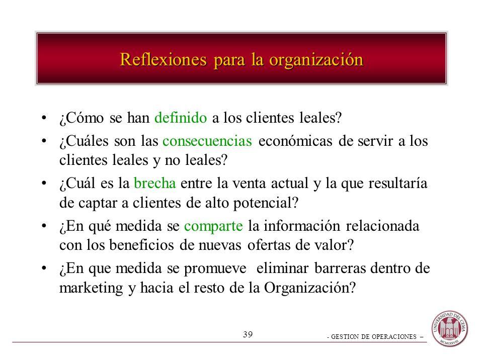 - GESTION DE OPERACIONES – 39 Reflexiones para la organización ¿Cómo se han definido a los clientes leales? ¿Cuáles son las consecuencias económicas d