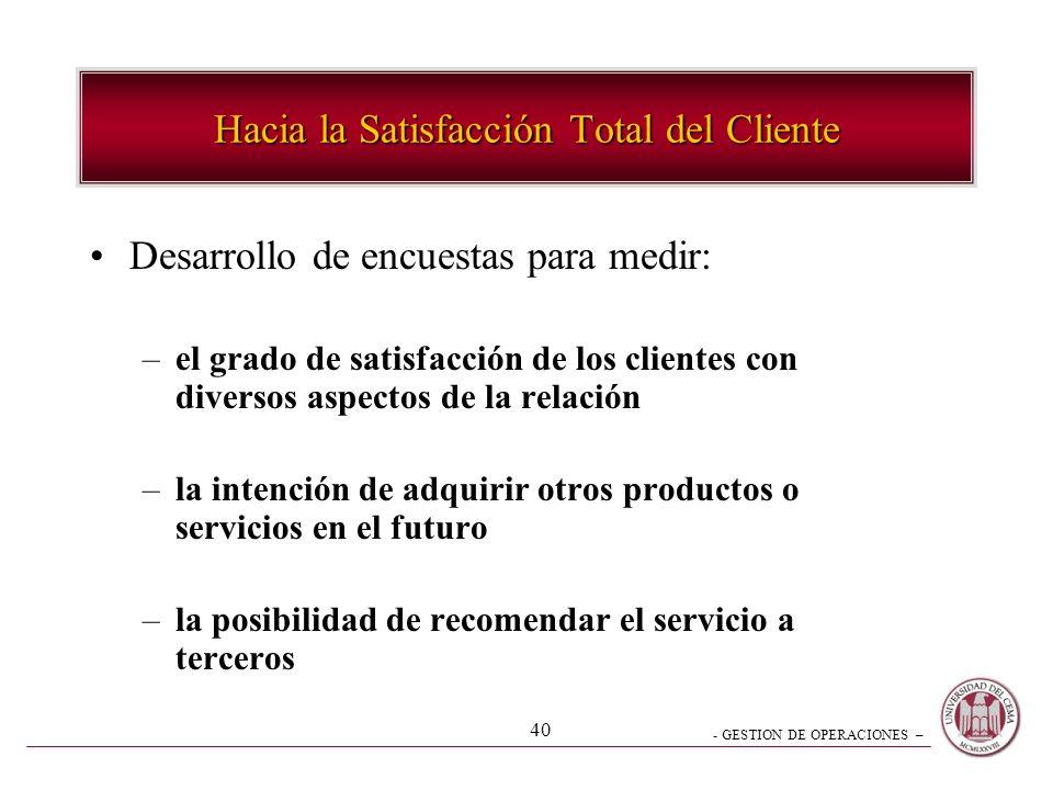 - GESTION DE OPERACIONES – 40 Desarrollo de encuestas para medir: –el grado de satisfacción de los clientes con diversos aspectos de la relación –la i