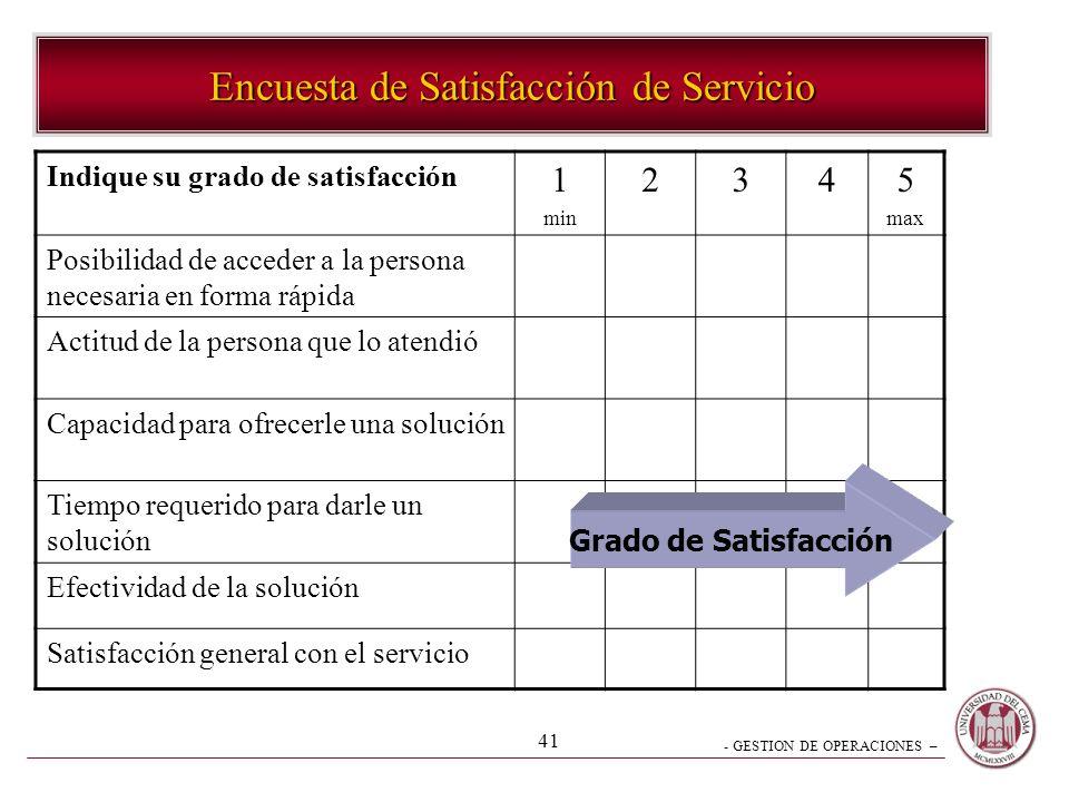 - GESTION DE OPERACIONES – 41 Encuesta de Satisfacción de Servicio Indique su grado de satisfacción 1 min 2345 max Posibilidad de acceder a la persona