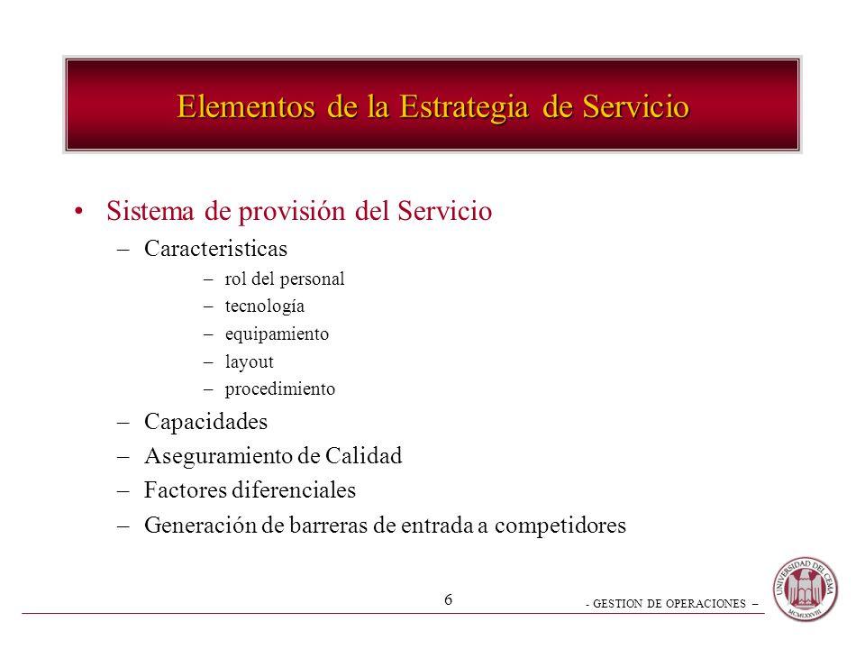 - GESTION DE OPERACIONES – 6 Elementos de la Estrategia de Servicio Sistema de provisión del Servicio –Caracteristicas –rol del personal –tecnología –