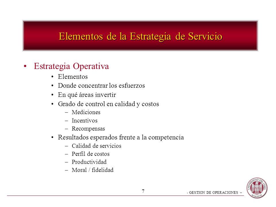 - GESTION DE OPERACIONES – 7 Estrategia Operativa Elementos Donde concentrar los esfuerzos En qué áreas invertir Grado de control en calidad y costos