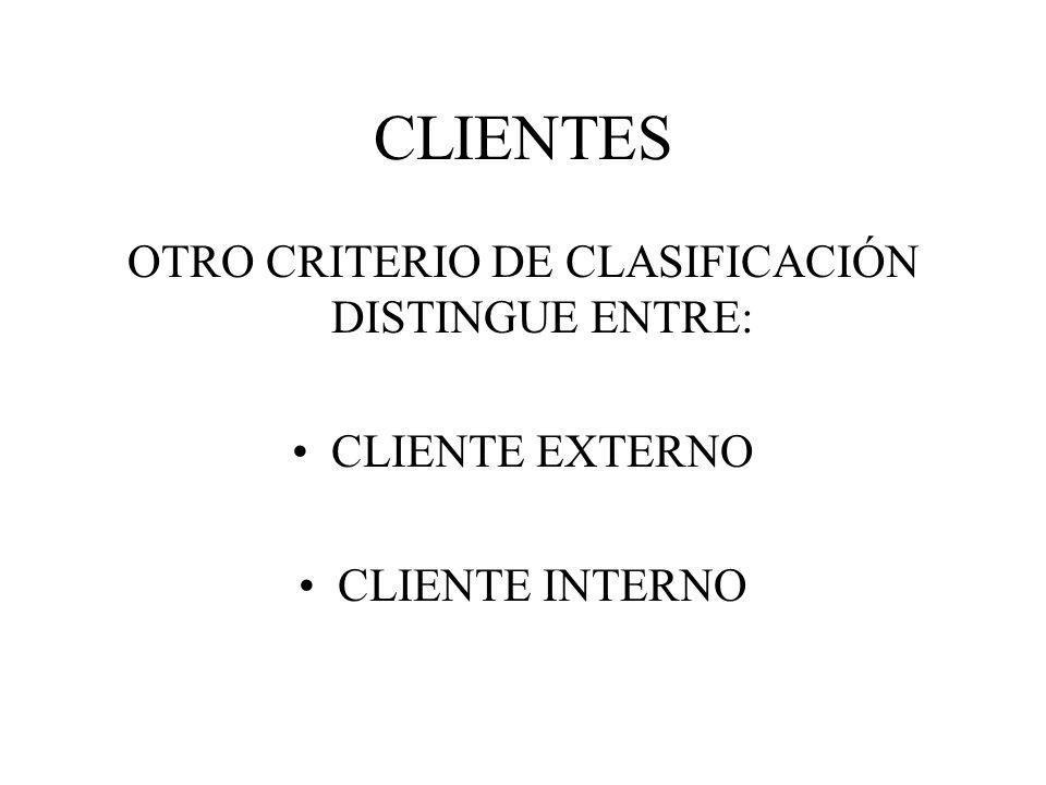 CLIENTES OTRO CRITERIO DE CLASIFICACIÓN DISTINGUE ENTRE: CLIENTE EXTERNO CLIENTE INTERNO