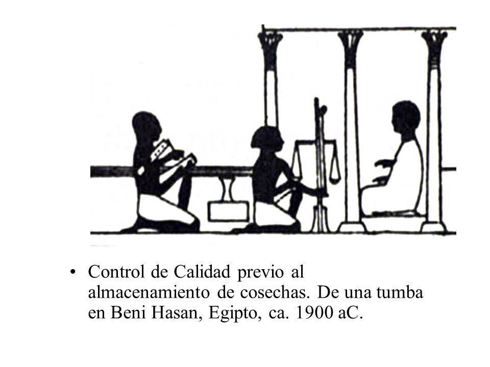 Control de Calidad previo al almacenamiento de cosechas. De una tumba en Beni Hasan, Egipto, ca. 1900 aC.