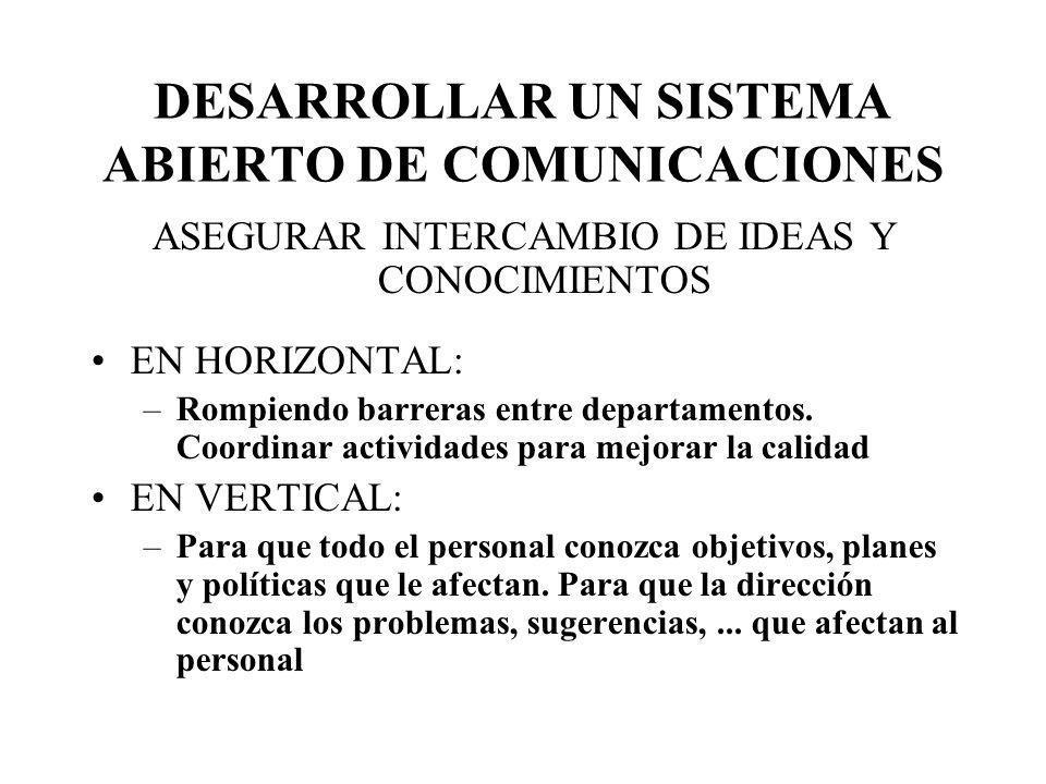 DESARROLLAR UN SISTEMA ABIERTO DE COMUNICACIONES ASEGURAR INTERCAMBIO DE IDEAS Y CONOCIMIENTOS EN HORIZONTAL: –Rompiendo barreras entre departamentos.