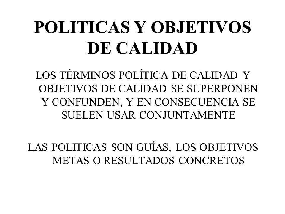 POLITICAS Y OBJETIVOS DE CALIDAD LOS TÉRMINOS POLÍTICA DE CALIDAD Y OBJETIVOS DE CALIDAD SE SUPERPONEN Y CONFUNDEN, Y EN CONSECUENCIA SE SUELEN USAR C