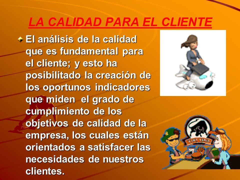 LA CALIDAD PARA EL CLIENTE El análisis de la calidad que es fundamental para el cliente; y esto ha posibilitado la creación de los oportunos indicador