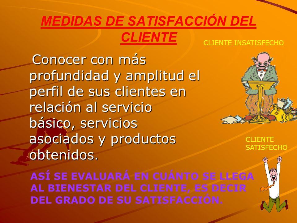 MEDIDAS DE SATISFACCIÓN DEL CLIENTE Conocer con más profundidad y amplitud el perfil de sus clientes en relación al servicio básico, servicios asociad