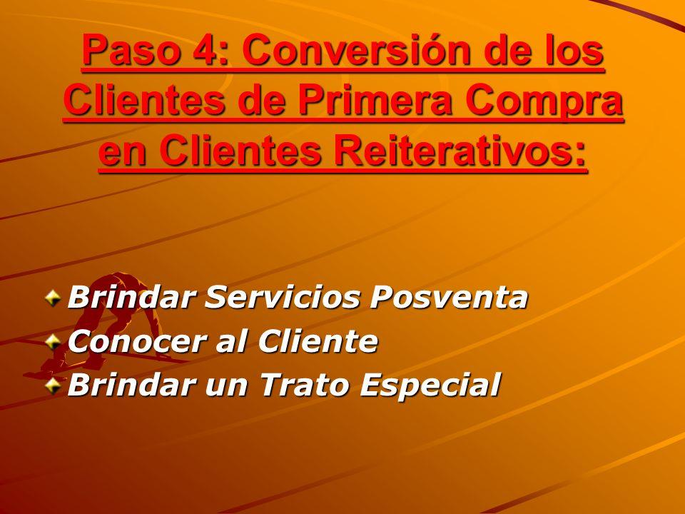 Paso 4: Conversión de los Clientes de Primera Compra en Clientes Reiterativos: Brindar Servicios Posventa Conocer al Cliente Brindar un Trato Especial
