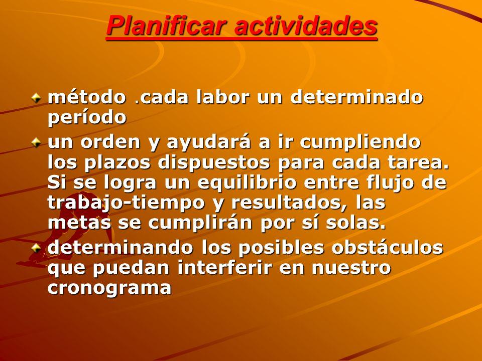 Planificar actividades método.cada labor un determinado período un orden y ayudará a ir cumpliendo los plazos dispuestos para cada tarea. Si se logra