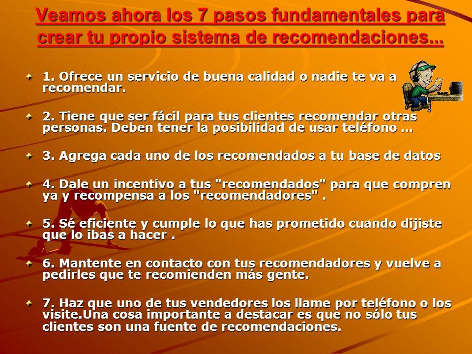 Veamos ahora los 7 pasos fundamentales para crear tu propio sistema de recomendaciones... 1. Ofrece un servicio de buena calidad o nadie te va a recom
