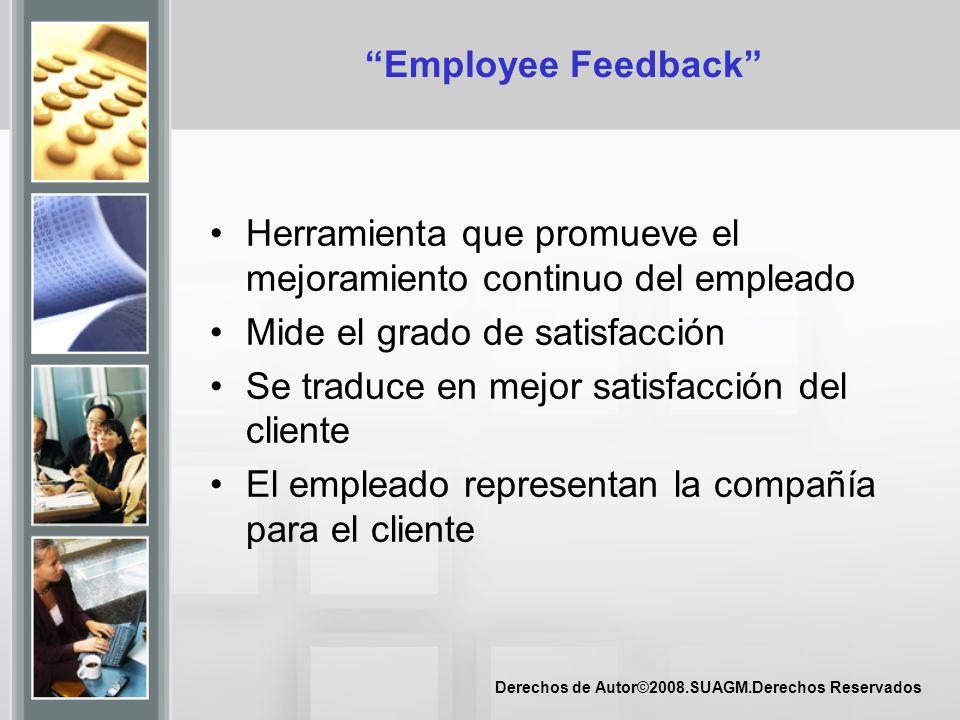 Derechos de Autor©2008.SUAGM.Derechos Reservados Employee Feedback Herramienta que promueve el mejoramiento continuo del empleado Mide el grado de sat