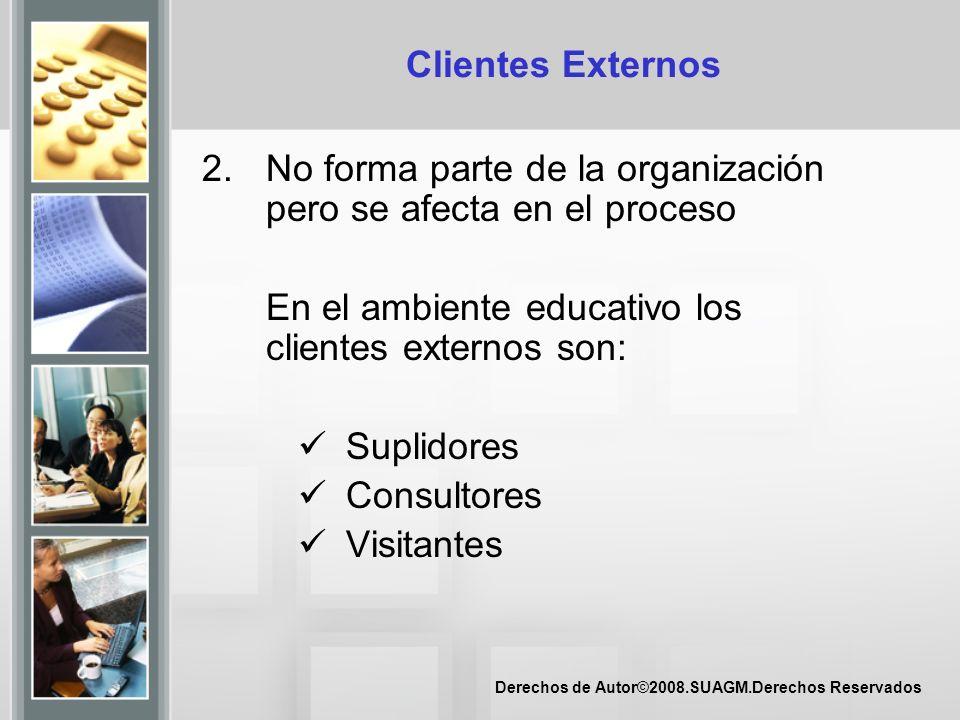Derechos de Autor©2008.SUAGM.Derechos Reservados Clientes Externos 2.No forma parte de la organización pero se afecta en el proceso En el ambiente edu
