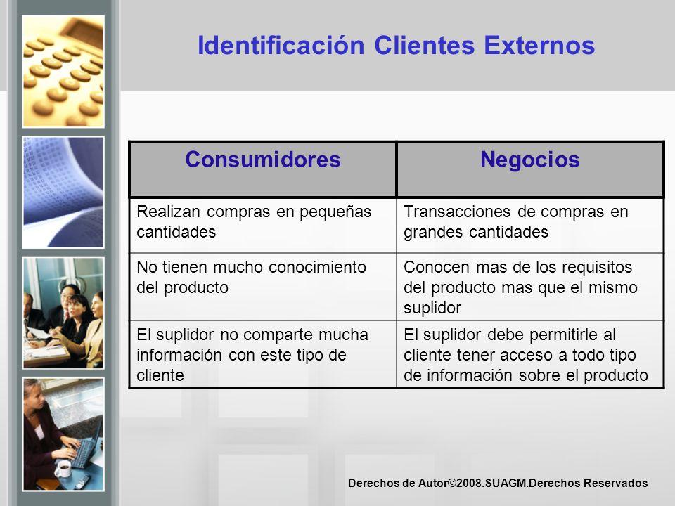 Derechos de Autor©2008.SUAGM.Derechos Reservados Identificación Clientes Externos ConsumidoresNegocios Realizan compras en pequeñas cantidades Transac