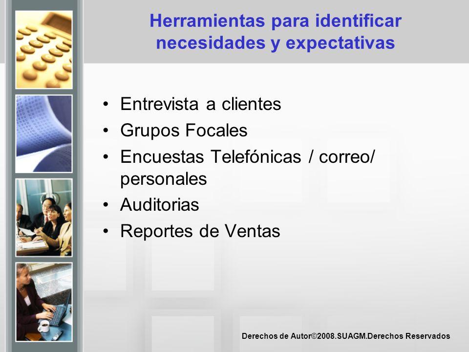 Derechos de Autor©2008.SUAGM.Derechos Reservados Herramientas para identificar necesidades y expectativas Entrevista a clientes Grupos Focales Encuest