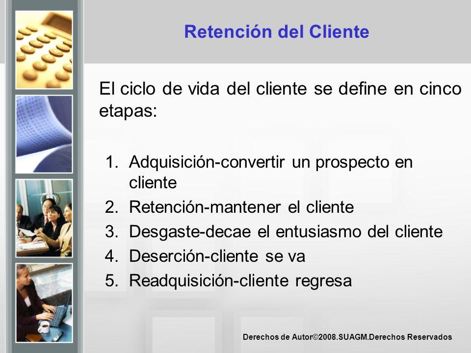 Derechos de Autor©2008.SUAGM.Derechos Reservados Retención del Cliente El ciclo de vida del cliente se define en cinco etapas: 1.Adquisición-convertir