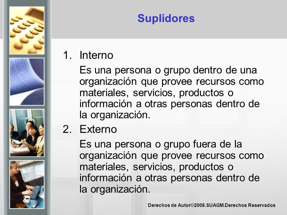 Derechos de Autor©2008.SUAGM.Derechos Reservados Suplidores 1.Interno Es una persona o grupo dentro de una organización que provee recursos como mater