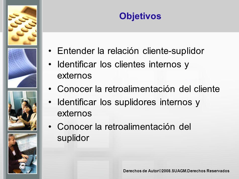 Derechos de Autor©2008.SUAGM.Derechos Reservados Objetivos Entender la relación cliente-suplidor Identificar los clientes internos y externos Conocer