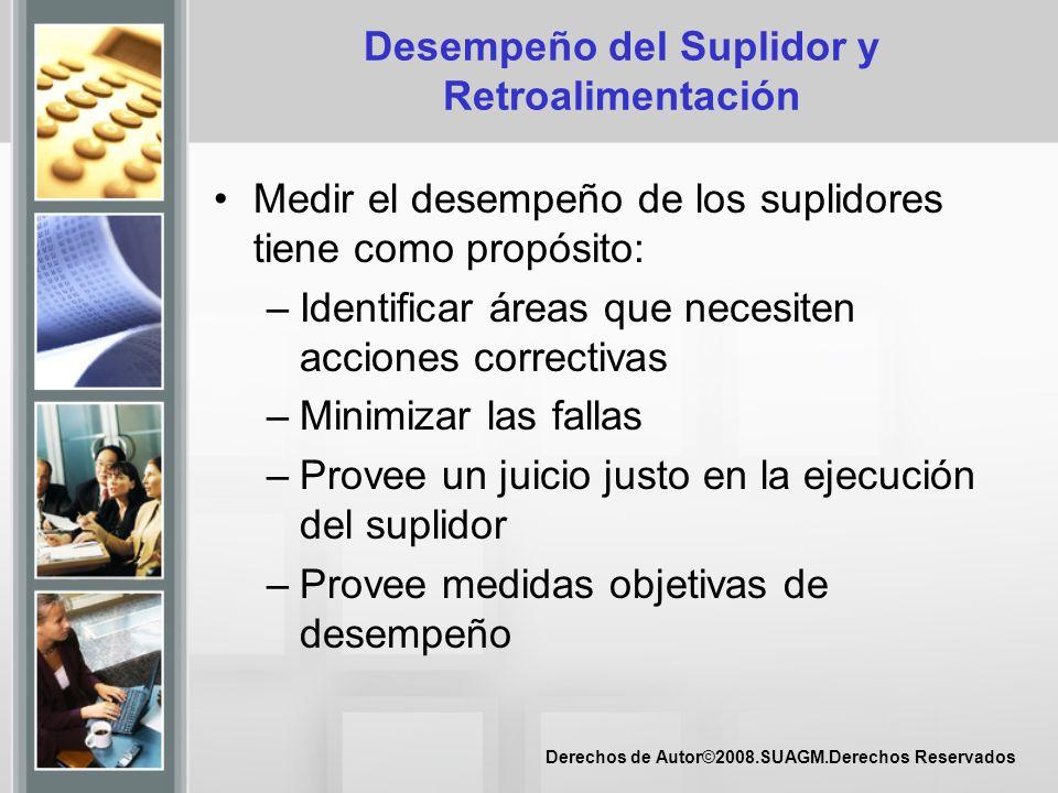 Derechos de Autor©2008.SUAGM.Derechos Reservados Desempeño del Suplidor y Retroalimentación Medir el desempeño de los suplidores tiene como propósito: