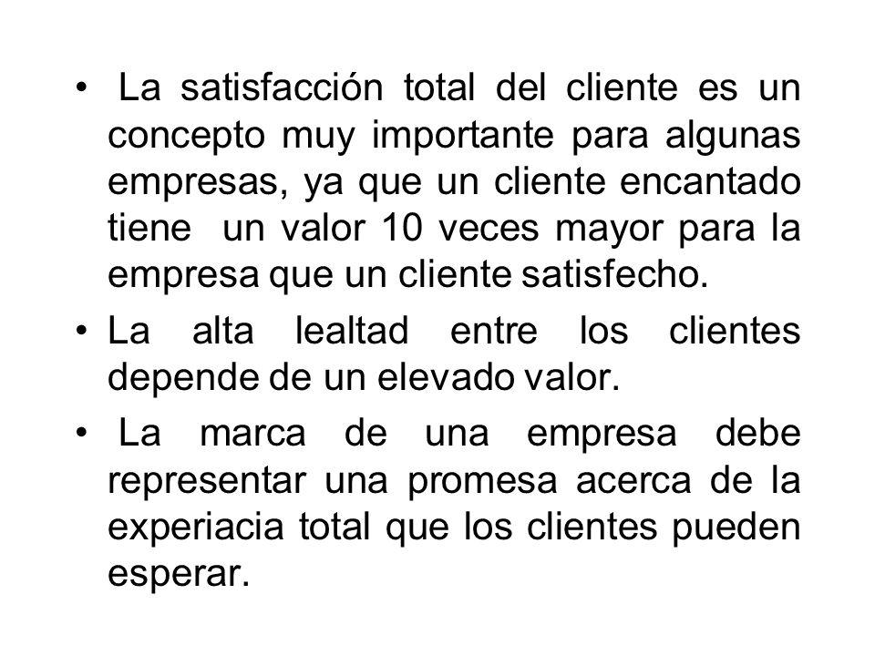 La satisfacción total del cliente es un concepto muy importante para algunas empresas, ya que un cliente encantado tiene un valor 10 veces mayor para