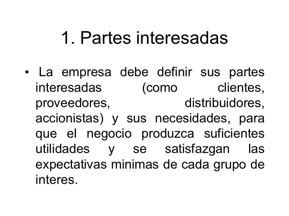 1. Partes interesadas La empresa debe definir sus partes interesadas (como clientes, proveedores, distribuidores, accionistas) y sus necesidades, para