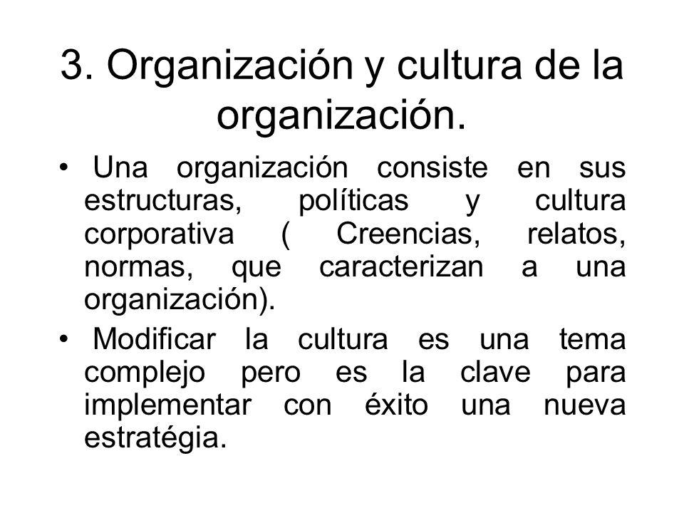 3. Organización y cultura de la organización. Una organización consiste en sus estructuras, políticas y cultura corporativa ( Creencias, relatos, norm