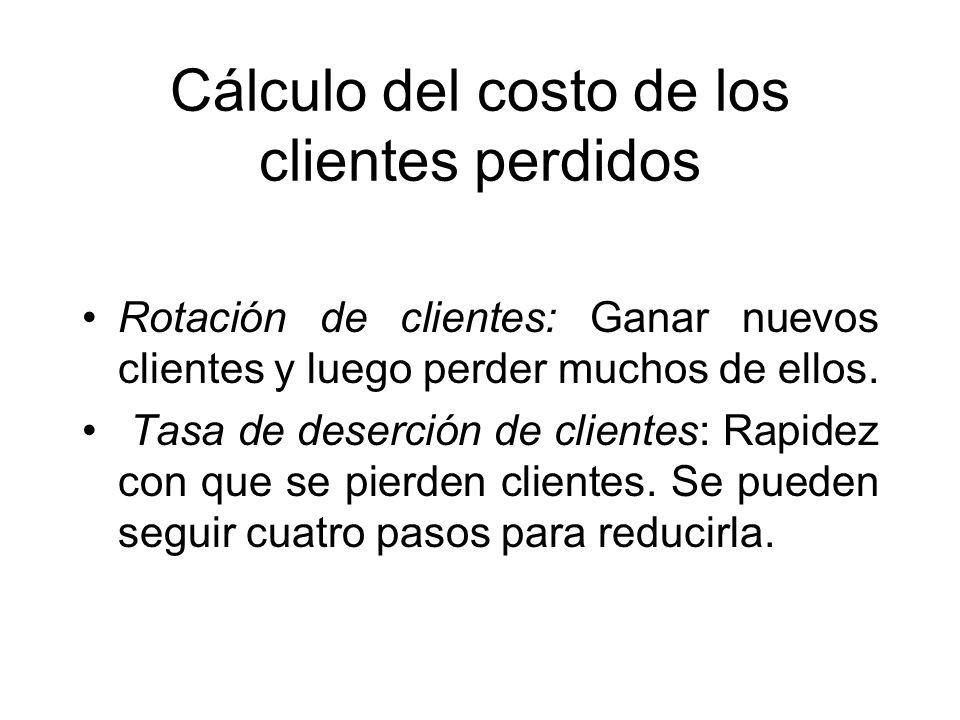 Cálculo del costo de los clientes perdidos Rotación de clientes: Ganar nuevos clientes y luego perder muchos de ellos. Tasa de deserción de clientes: