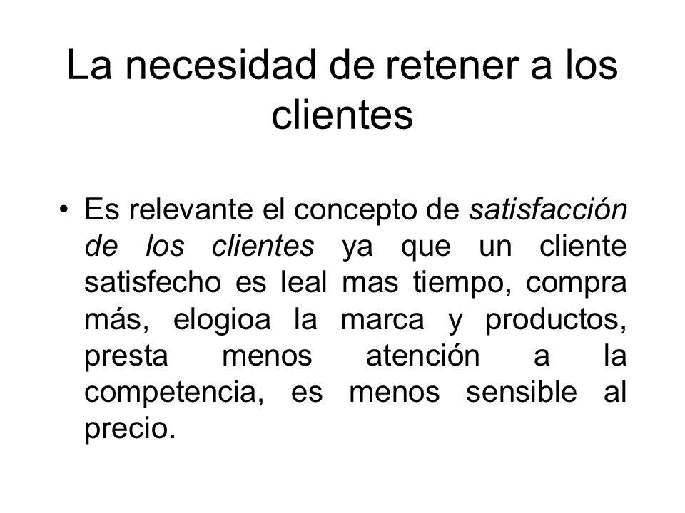 La necesidad de retener a los clientes Es relevante el concepto de satisfacción de los clientes ya que un cliente satisfecho es leal mas tiempo, compr