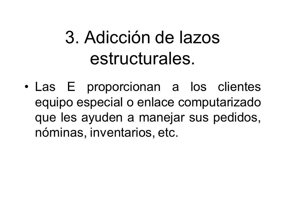 3. Adicción de lazos estructurales. Las E proporcionan a los clientes equipo especial o enlace computarizado que les ayuden a manejar sus pedidos, nóm