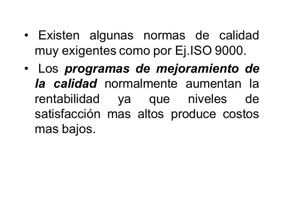 Existen algunas normas de calidad muy exigentes como por Ej.ISO 9000. Los programas de mejoramiento de la calidad normalmente aumentan la rentabilidad