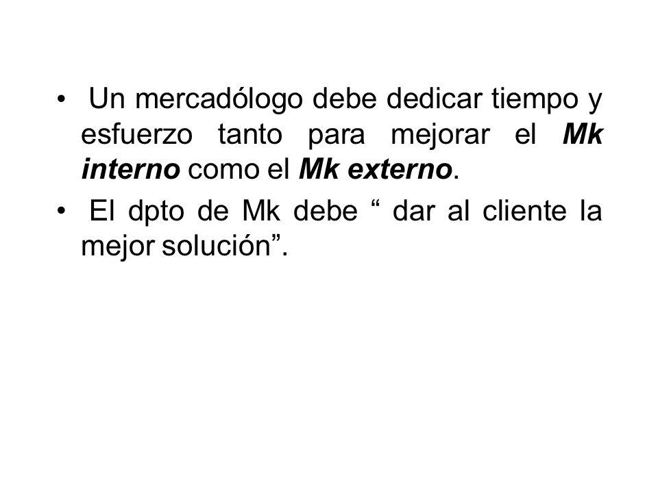 Un mercadólogo debe dedicar tiempo y esfuerzo tanto para mejorar el Mk interno como el Mk externo. El dpto de Mk debe dar al cliente la mejor solución