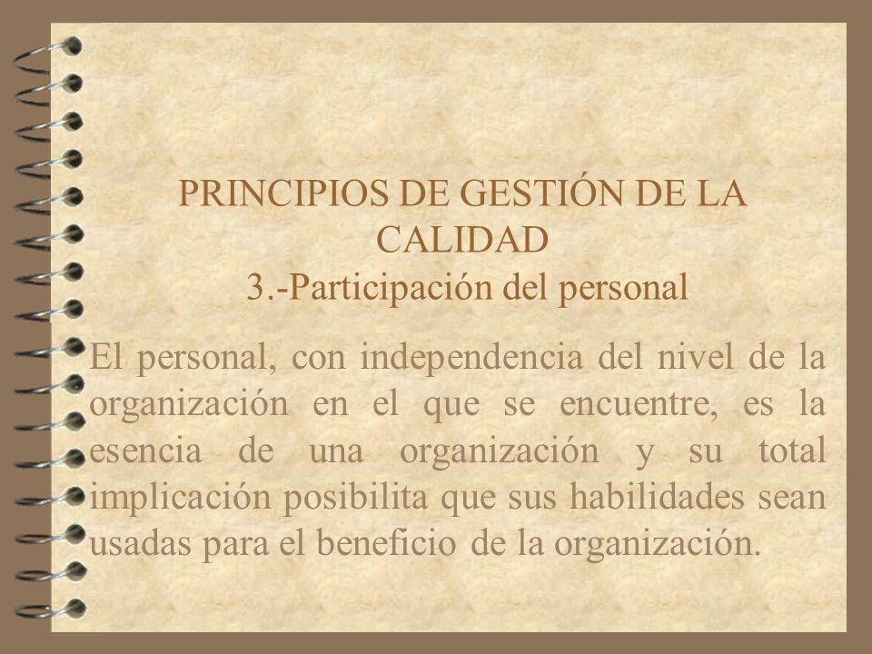 PRINCIPIOS DE GESTIÓN DE LA CALIDAD 3.-Participación del personal El personal, con independencia del nivel de la organización en el que se encuentre,