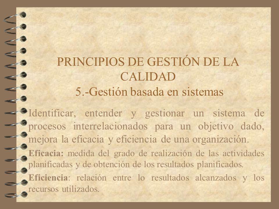 PRINCIPIOS DE GESTIÓN DE LA CALIDAD 5.-Gestión basada en sistemas Identificar, entender y gestionar un sistema de procesos interrelacionados para un o