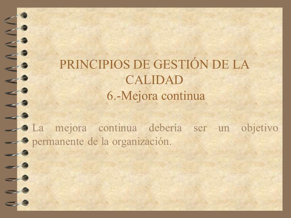 PRINCIPIOS DE GESTIÓN DE LA CALIDAD 6.-Mejora continua La mejora continua debería ser un objetivo permanente de la organización.