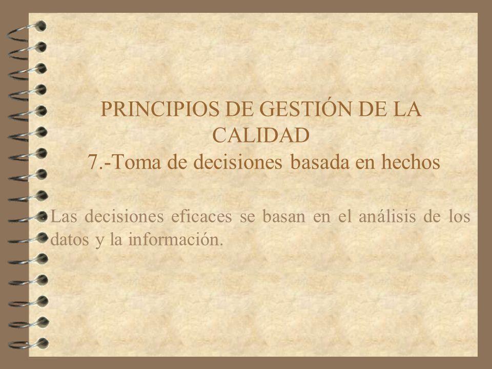 PRINCIPIOS DE GESTIÓN DE LA CALIDAD 7.-Toma de decisiones basada en hechos Las decisiones eficaces se basan en el análisis de los datos y la informaci