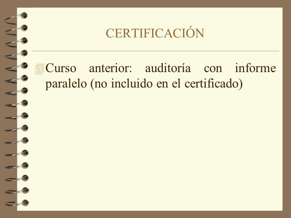4 Curso anterior: auditoría con informe paralelo (no incluido en el certificado) CERTIFICACIÓN