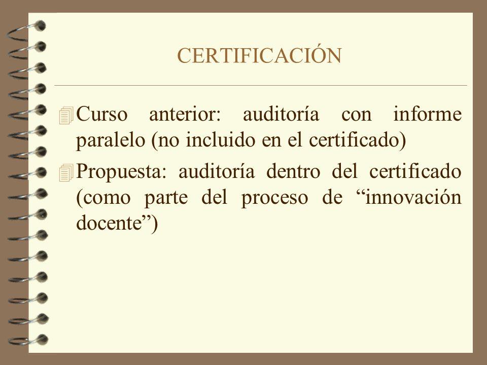 4 Curso anterior: auditoría con informe paralelo (no incluido en el certificado) 4 Propuesta: auditoría dentro del certificado (como parte del proceso
