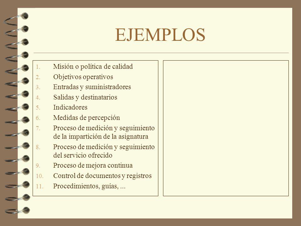 EJEMPLOS 1. Misión o política de calidad 2. Objetivos operativos 3. Entradas y suministradores 4. Salidas y destinatarios 5. Indicadores 6. Medidas de
