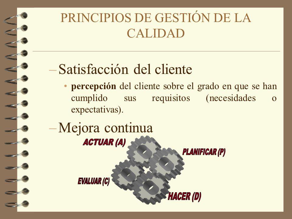 –Satisfacción del cliente percepción del cliente sobre el grado en que se han cumplido sus requisitos (necesidades o expectativas). –Mejora continua P