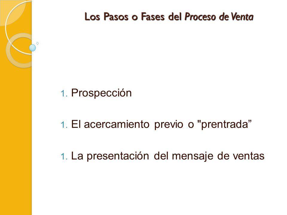 Los Pasos o Fases del Proceso de Venta 1. Prospección 1. El acercamiento previo o
