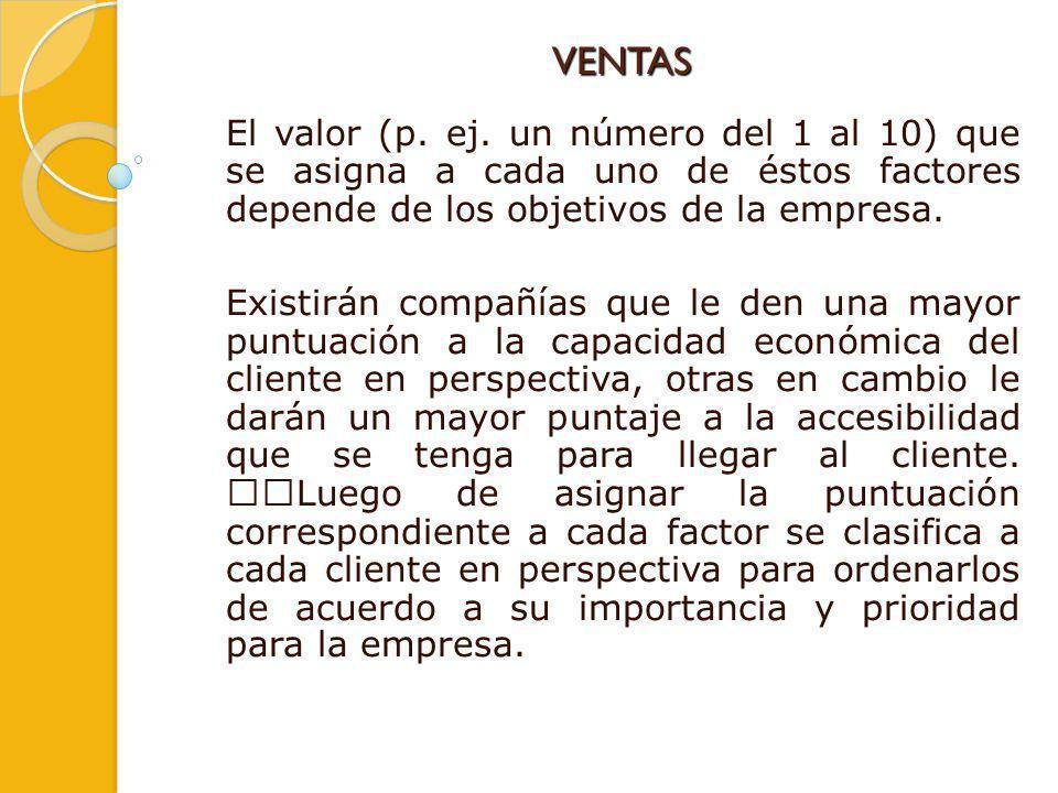 VENTAS El valor (p. ej. un número del 1 al 10) que se asigna a cada uno de éstos factores depende de los objetivos de la empresa. Existirán compañías