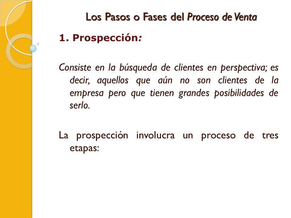 Los Pasos o Fases del Proceso de Venta 1. Prospección: Consiste en la búsqueda de clientes en perspectiva; es decir, aquellos que aún no son clientes