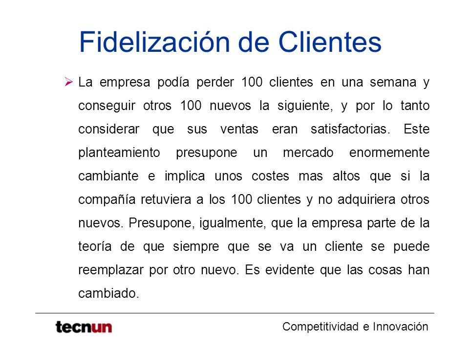 Competitividad e Innovación Fidelización de Clientes La empresa podía perder 100 clientes en una semana y conseguir otros 100 nuevos la siguiente, y p