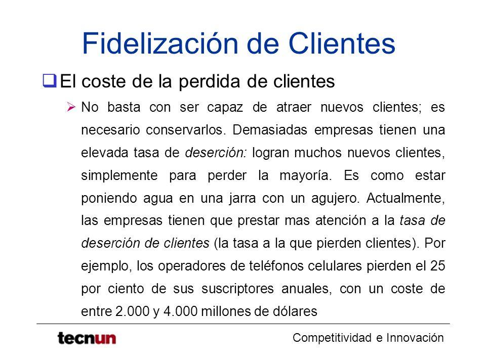 Competitividad e Innovación Fidelización de Clientes El coste de la perdida de clientes No basta con ser capaz de atraer nuevos clientes; es necesario