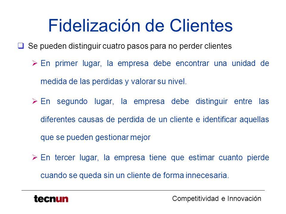 Competitividad e Innovación Fidelización de Clientes Se pueden distinguir cuatro pasos para no perder clientes En primer lugar, la empresa debe encont