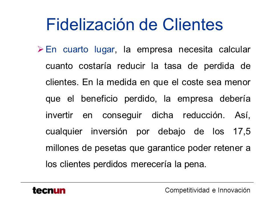 Competitividad e Innovación Fidelización de Clientes En cuarto lugar, la empresa necesita calcular cuanto costaría reducir la tasa de perdida de clien