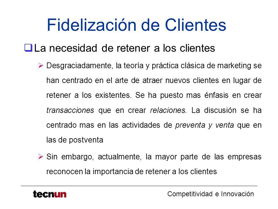 Competitividad e Innovación Fidelización de Clientes La necesidad de retener a los clientes Desgraciadamente, la teoría y práctica clásica de marketin
