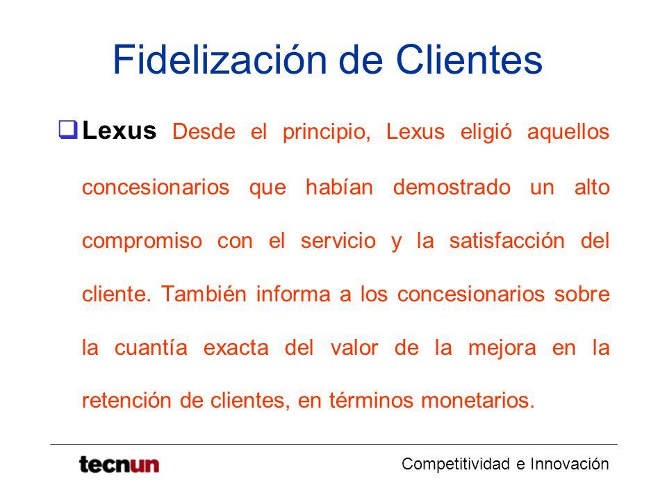Competitividad e Innovación Fidelización de Clientes Lexus Desde el principio, Lexus eligió aquellos concesionarios que habían demostrado un alto comp