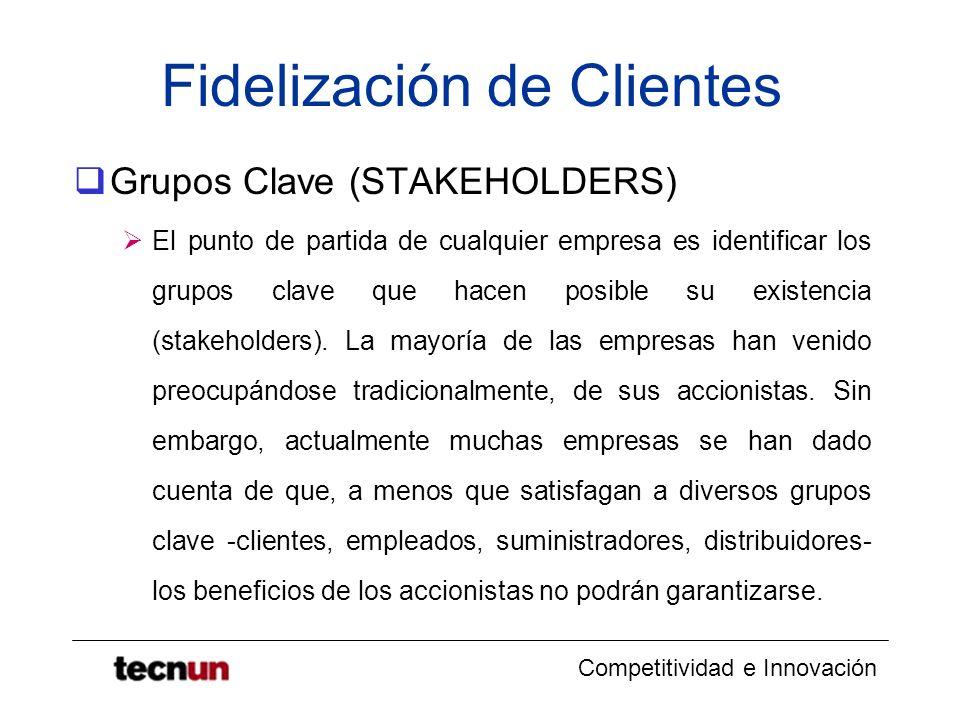 Competitividad e Innovación Fidelización de Clientes Grupos Clave (STAKEHOLDERS) El punto de partida de cualquier empresa es identificar los grupos cl