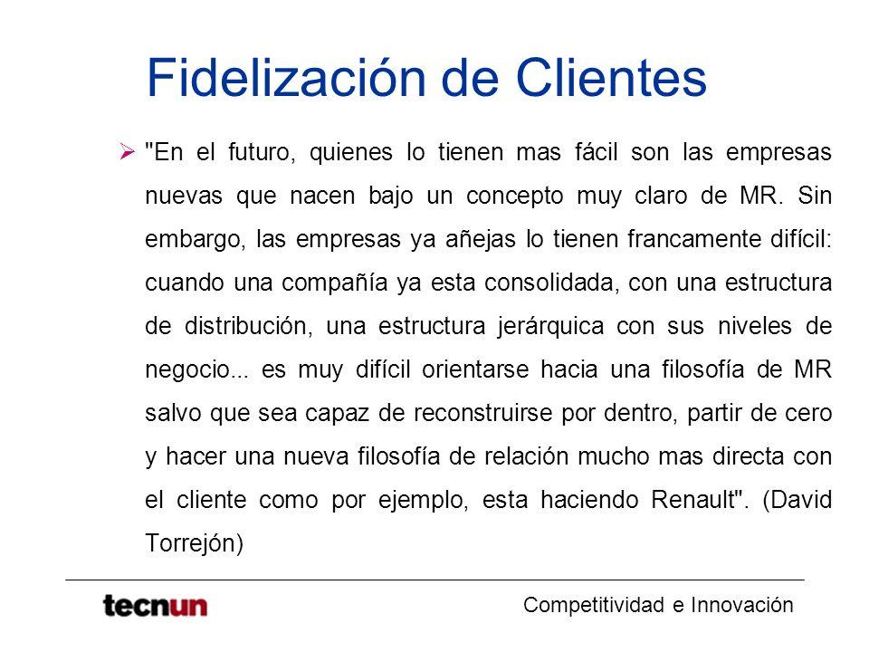 Competitividad e Innovación Fidelización de Clientes